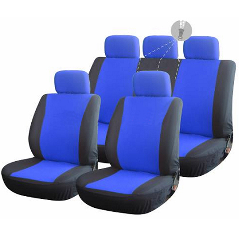 AMOI Solid Bench Cloth Seat Covers For SUV Auto Full Set 5