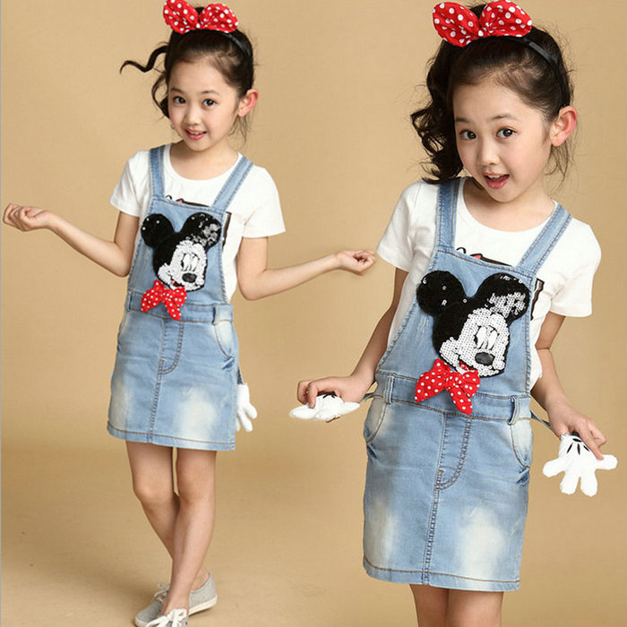 woo New Baby Girl Kids Outfit Clothes Coat Denim Dress For 2-7Y 5 Size Cartoon