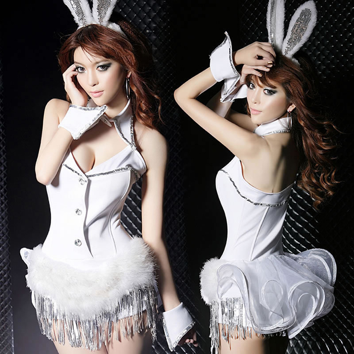 woo Sexy Womens Teddies White Bunny Bar Girl Costume Rabbit Roleplay Showgirl