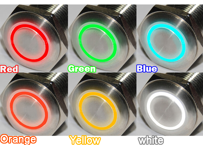 woo Circuit 12mm Momentary Waterproof Push Metal Power Switch Button Light 12V