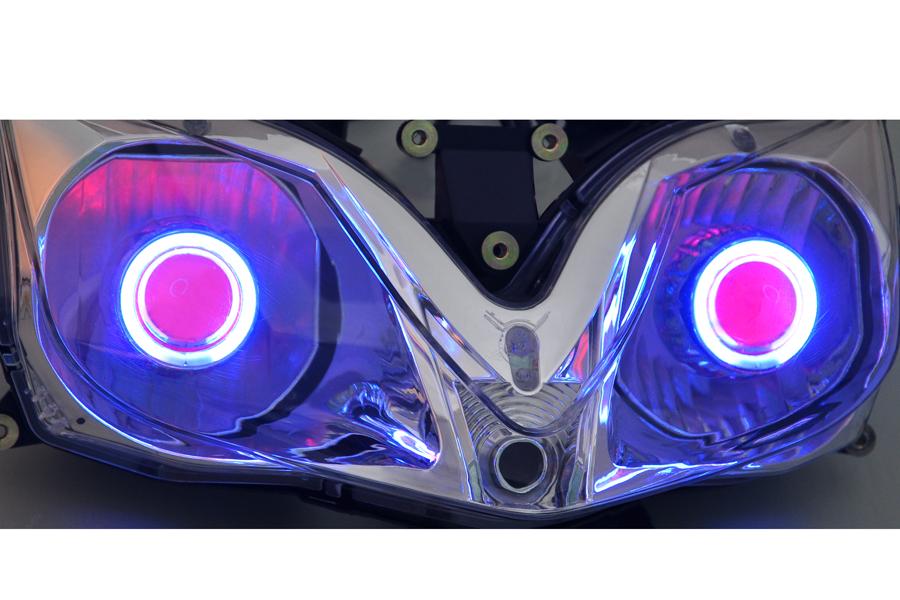 YTR Injection Projector Headlight Bi-xenon Blue Angel Eye For CBR 600 F4i 01-07