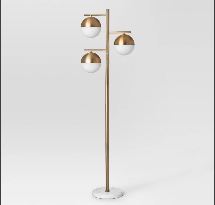 Geneva Multiple Glass Globe Floor Lamp Brass