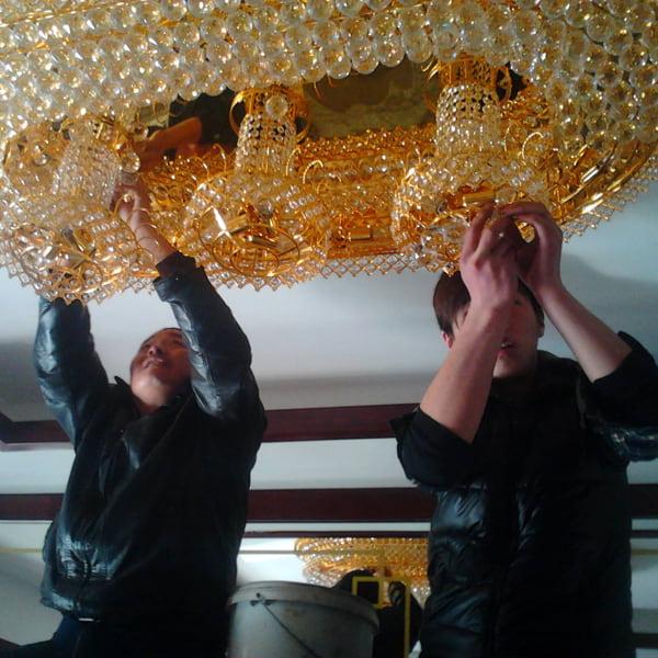 clean crystal chandelier