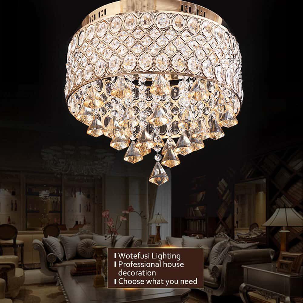 round-lampshade-crystal-ceiling-lamp